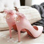 2016 spring new Korean pink high-heeled shoes are shoes with pointed fine suede shallow mouth Bow Shoes