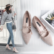 2018 spring new pointed with single shoes Korean crude with Shallow mouth high heels women's shoes student wild spring shoes