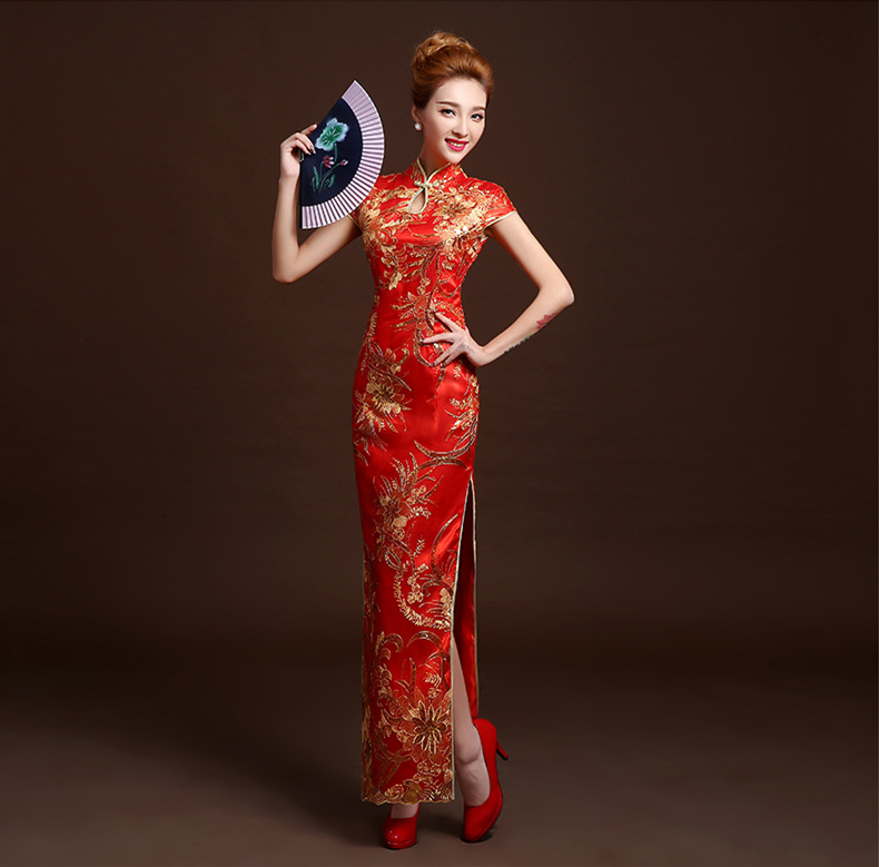 The new 2016 recalls a toast the bride qipao long banquet etiquette clothing cheongsam cheongsam catwalk show stage
