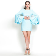 Thailand tide brand new spring and summer women T-shirt blue lotus sleeves package hip dress Halter Bridesmaid Dress Skirt