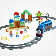 Huimei 3C children's educational spell insert building blocks toy assembled train Thomas front rail track parts library