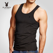 Playboy men's vest, cotton, slim body, fitness, fitness, fitness, hurdle, white summer tide youth