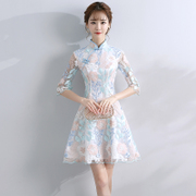 2017 new and improved fashion girl summer dress cheongsam dress dress art daily slim short woman