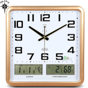 Polaris electronic clock room office calendar clock clock mute large quartz clock temperature and humidity