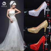 Winter wedding shoes waterproof shoes wedding bride female red high-heeled shoes with a fine crystal diamond wedding shoes shoes stage