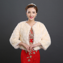 New red white winter wool shawl wedding dress bride wedding bridesmaid fur stay warm long sleeve padded coat