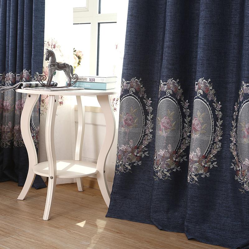 上门安装越帛纯色棉麻遮光窗帘成品飘窗卧室客厅镜中花窗帘布定制