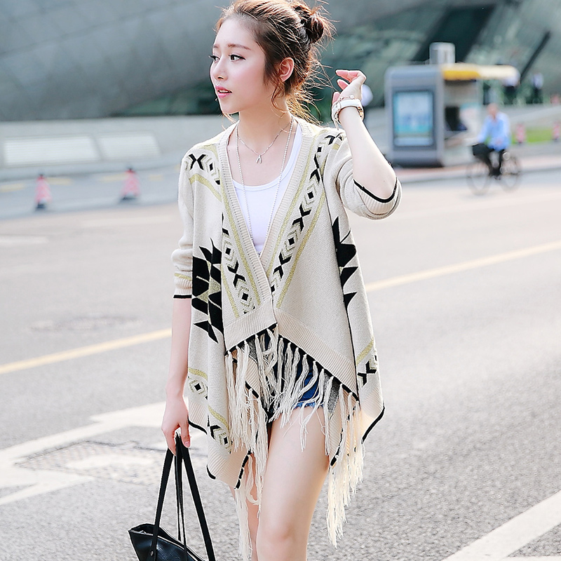 Early autumn 2015 the new south Korean women's clothing brands act as purchasing agency of brief paragraph fringed shawl loose coat han edition in the spring and autumn outfit