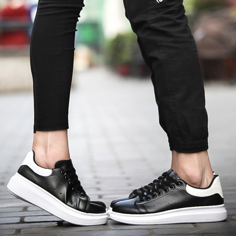 Spring han edition tattoo bird small white shoes casual shoes with thick soles flat white women's shoes increased couple