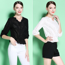 O@ high-end luxury brand fashion boutique 2017 exported to Europe and the United States all-match fashion show thin summer embroidered blouse