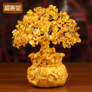 Yellow crystal lucky tree ornaments rich tree ornaments Home Furnishing living room cabinet shake Qian Shu creative arts and crafts