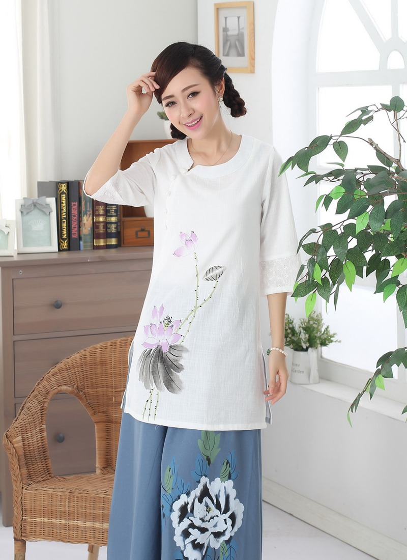 The new cotton dress coat lady costume hand-painted clothing clothing fashion classic summer tea hand-painted linen