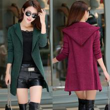 The new spring hooded sweater sweater a long paragraph sweater shawl cardigan coat tide