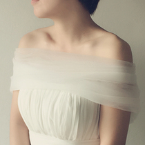New soft organza one shoulder bridesmaid bridal shawl Cape Street photo shoot dressed as MoE veil of aesthetic Cape
