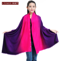 Two silk scarves scarf ever-changing function of the gradient buttons fall winter womens thick shawl dual gift box