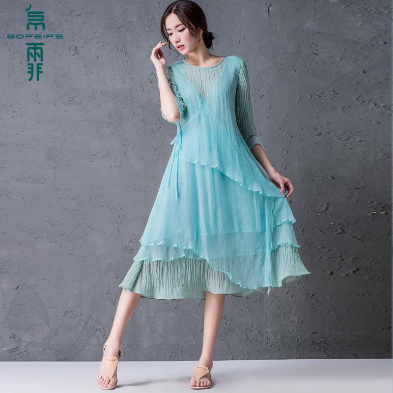 2016夏新款棉麻 拼桑蚕丝 连衣裙中袖中裙文艺中长大摆裙Q15932