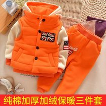Childrens winter clothing baby child winter suit 1-2-3-4 men and women thicker and wool-cotton set of three