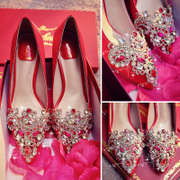 Diamond wedding shoes red shoes shoes shoes crystal female marriage bride pointed dragon embroidery single Xieqiu