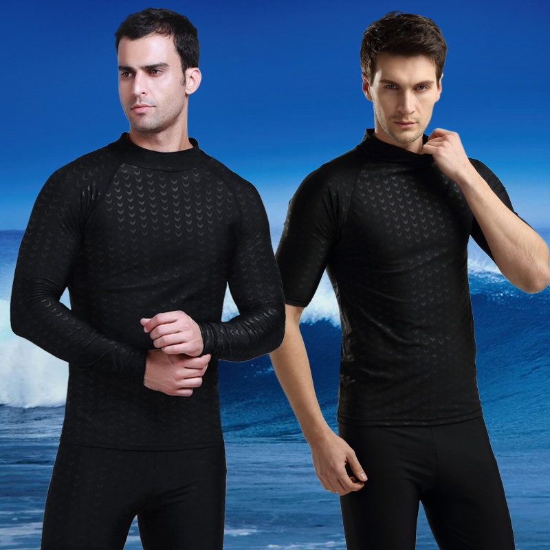 Men's sunscreen surfing suit anti-sunburn short sleeve swimming shirt t-shirt snorkeling bathing suit diving suit jellyfish clothing