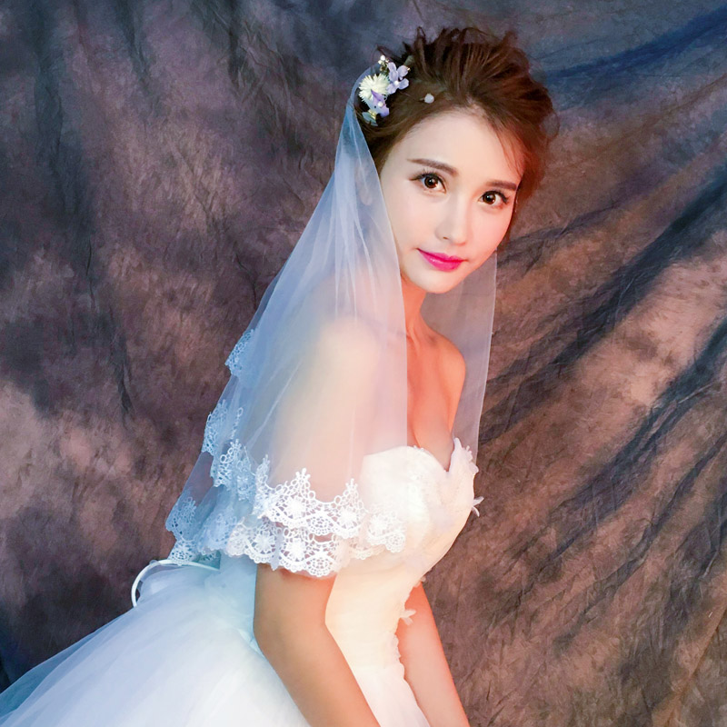 2017 new Korean bride 1.5 meters long white lace veil wedding wedding accessories accessories floor