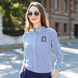 shirt female long sleeve 2017 spring new Europe stand fashion stripes Slim thin collar collar shirt