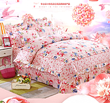 100 million small box Lan Island flagship store Lynx selected home textile bedding four-piece wedding bed cover type red pink