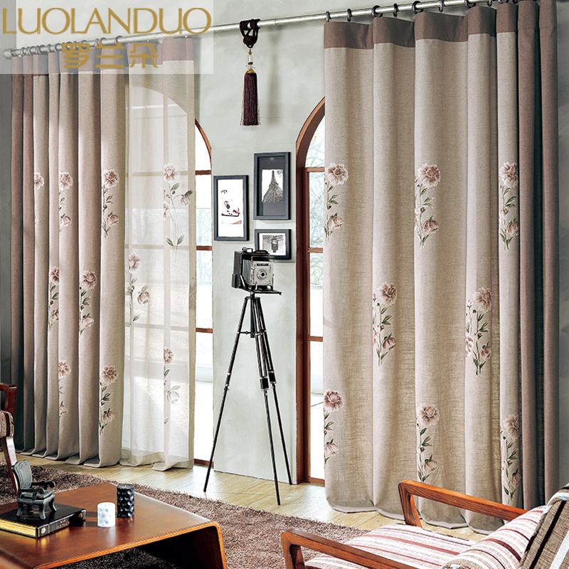 定制窗帘成品高端手绘布料韩式田园棉麻窗帘客厅卧室书房落地窗纱