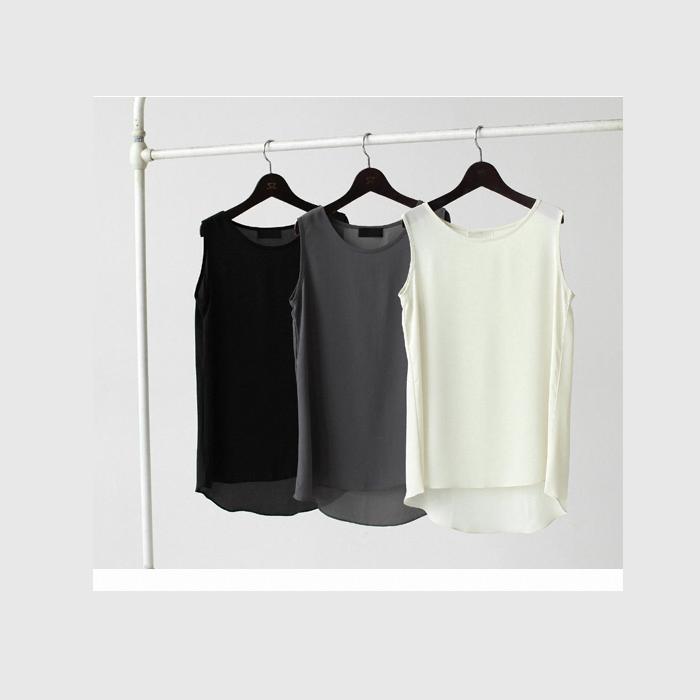 2015夏装 中长款宽松打底吊带背心女 修身显瘦外穿无袖雪纺小衫
