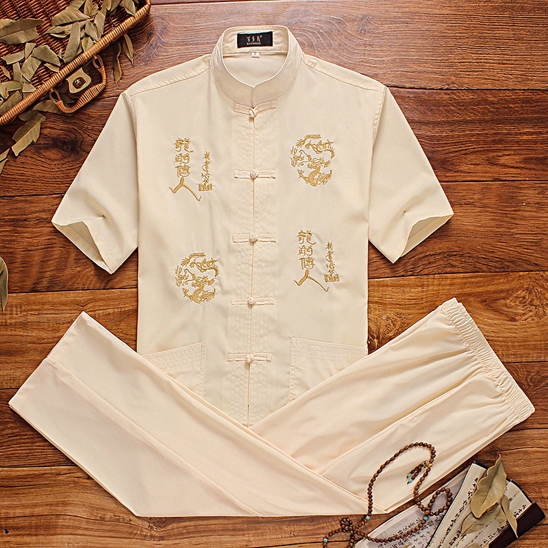 The young China costume style cotton short sleeved suit Chinese male summer Vintage Linen Shirt cardigan trousers