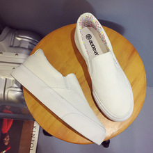 014 new thick canvas shoes casual shoes slip on loafer loafer shoes shoes shoes white Muffin
