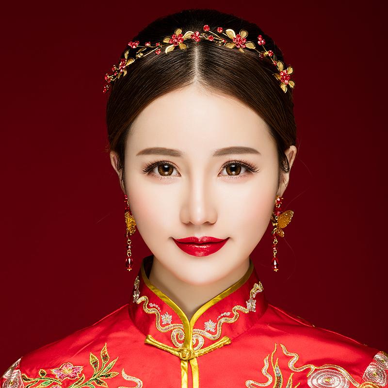 意卡佐新娘头饰古装秀禾服中式结婚礼红色饰品敬酒服礼服古风发带