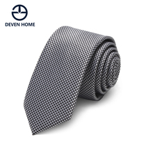 Devenhome Korean male casual tie narrow version 5cm Black Silver Houndstooth pattern small gift box tide