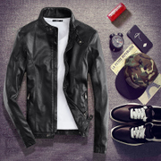 Leather jacket slim male Korean youth in autumn and winter men's leather jacket with fleece locomotive body type trend