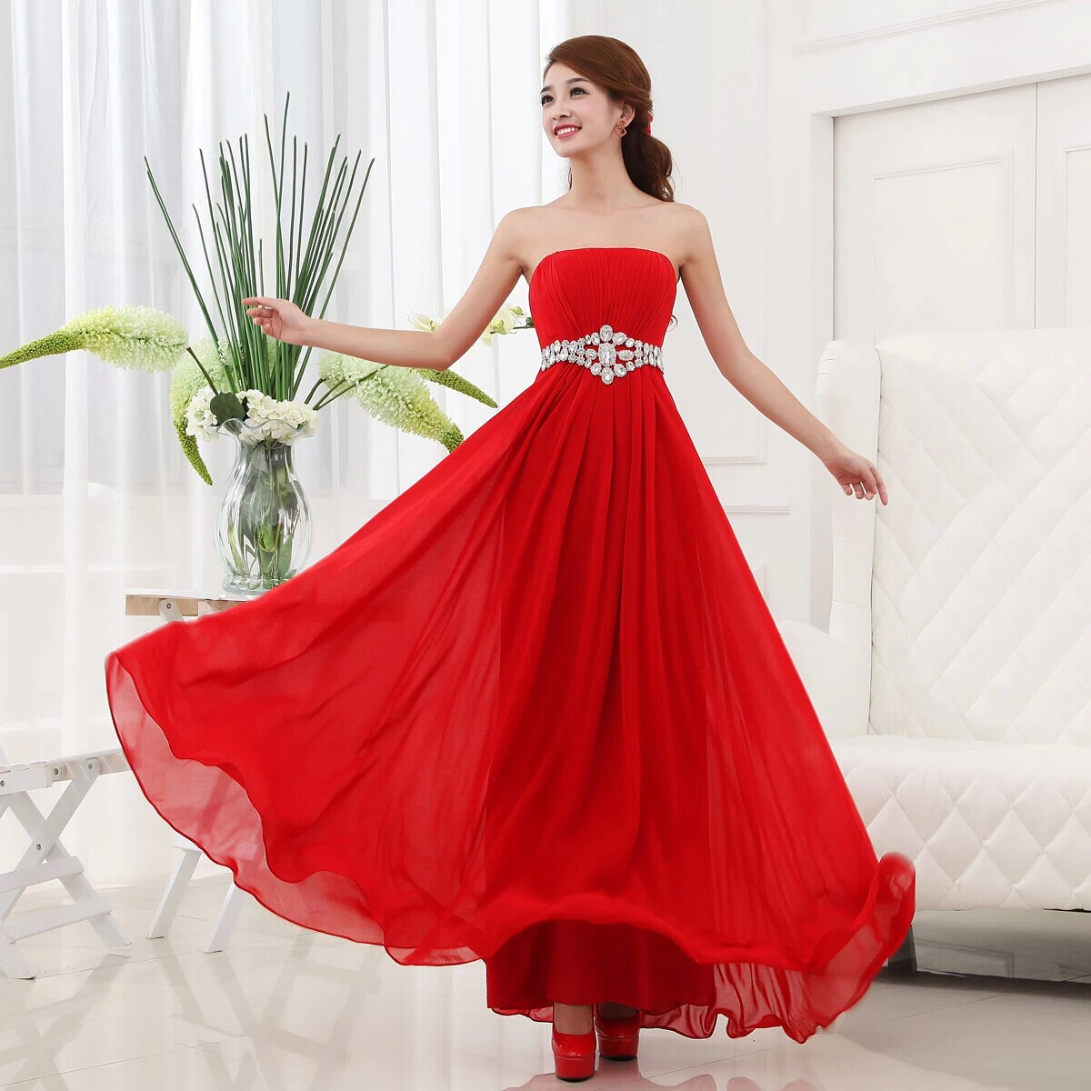 Pregnant women dress evening dress The new 2015 strapless together with evening dress The maid of honor toast wedding fell to the red dress