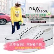 Autumn new modern structuralist line feeling low with white shoe leather shoes female waterproof three-dimensional size code