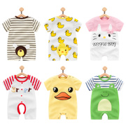 Baby baby clothes in summer 0 male 1 year old newborn summer cotton clothing 6 ha thin short sleeved 3 months