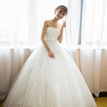 2017 new winter bride fashion show thin tail simple strapless wedding dress code of Qi of pregnant women