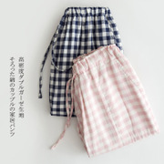 Spring and summer cotton plaid couples the trousers and cotton gauze thin autumn Japanese Muji Home Furnishing wind pants
