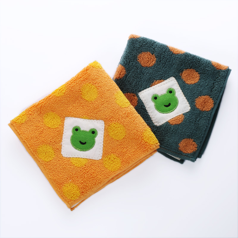 Export promotion, single タ オ ル gallery frog embroidery cotton soft handkerchief child-towel hang small towel wipes