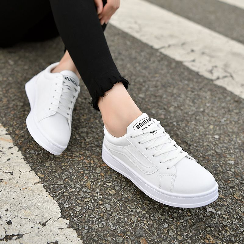 White leather shoes and lace summer white canvas shoes casual shoes all-match Korean students a breathable shoes