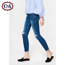 C&A womens nine holes washed slim jeans spring summer 2017 new feet pants CA200190684