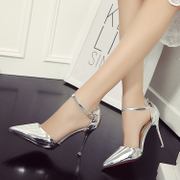 Silver Heels female summer fine and pointy sexy nightclub 2016 new side empty shoes single root slim women's shoes tide