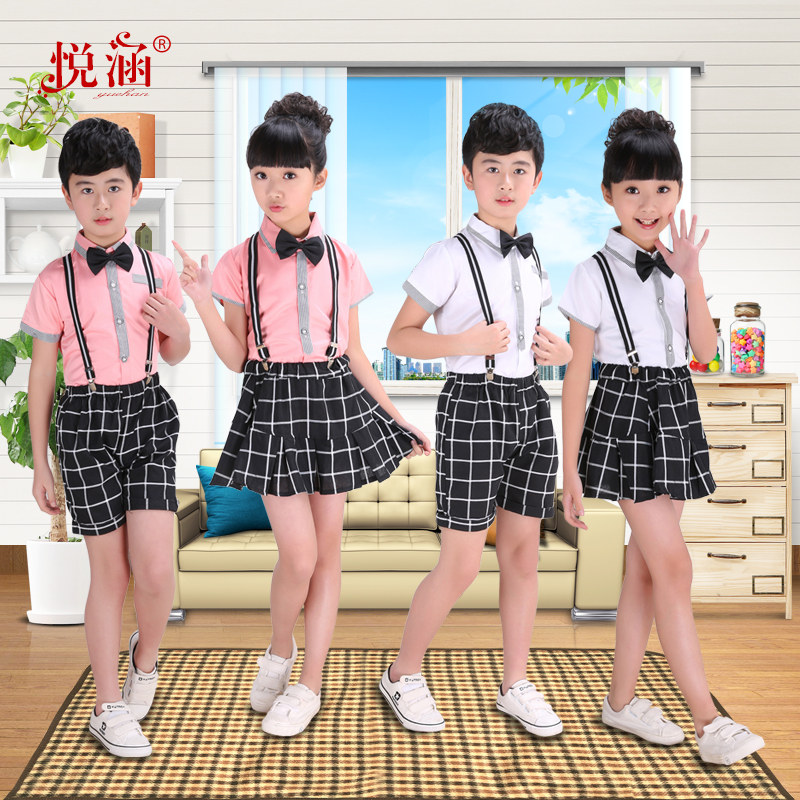六一儿童背带裤演出服男童小学生合唱服男孩幼儿园表演服短袖套装