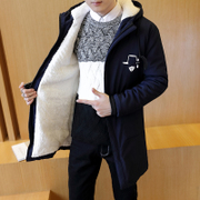 With cashmere coat in cotton men's slim long winter coat Mianfu youth tide filled the new 2016 students