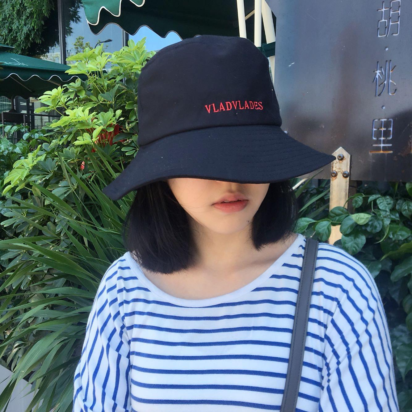 夏日遮脸大檐渔夫帽这样大盆帽高冷禁欲帽子 英文刺绣男女情侣帽