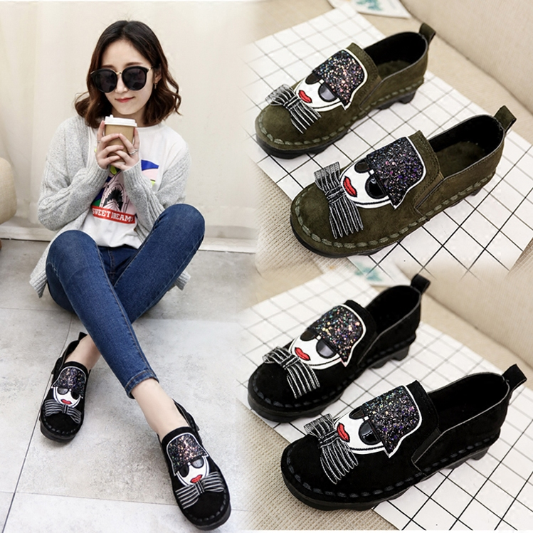 Doug shoes spring 2017 new round shoes Korean students all-match a lazy antiskid shoes for pregnant women