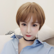 Wig female net short red hair natural lifelike fake hair fluffy hair handsome Bobo head bangs