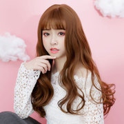 Bai Mei fang female wig long curly hair wavy natural fluffy bangs hair set Qi Liu Korean Air