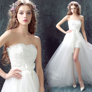 Angel wedding dress lace with short yarn Chanyi smoke chest removable long tail bride wedding dress 1507