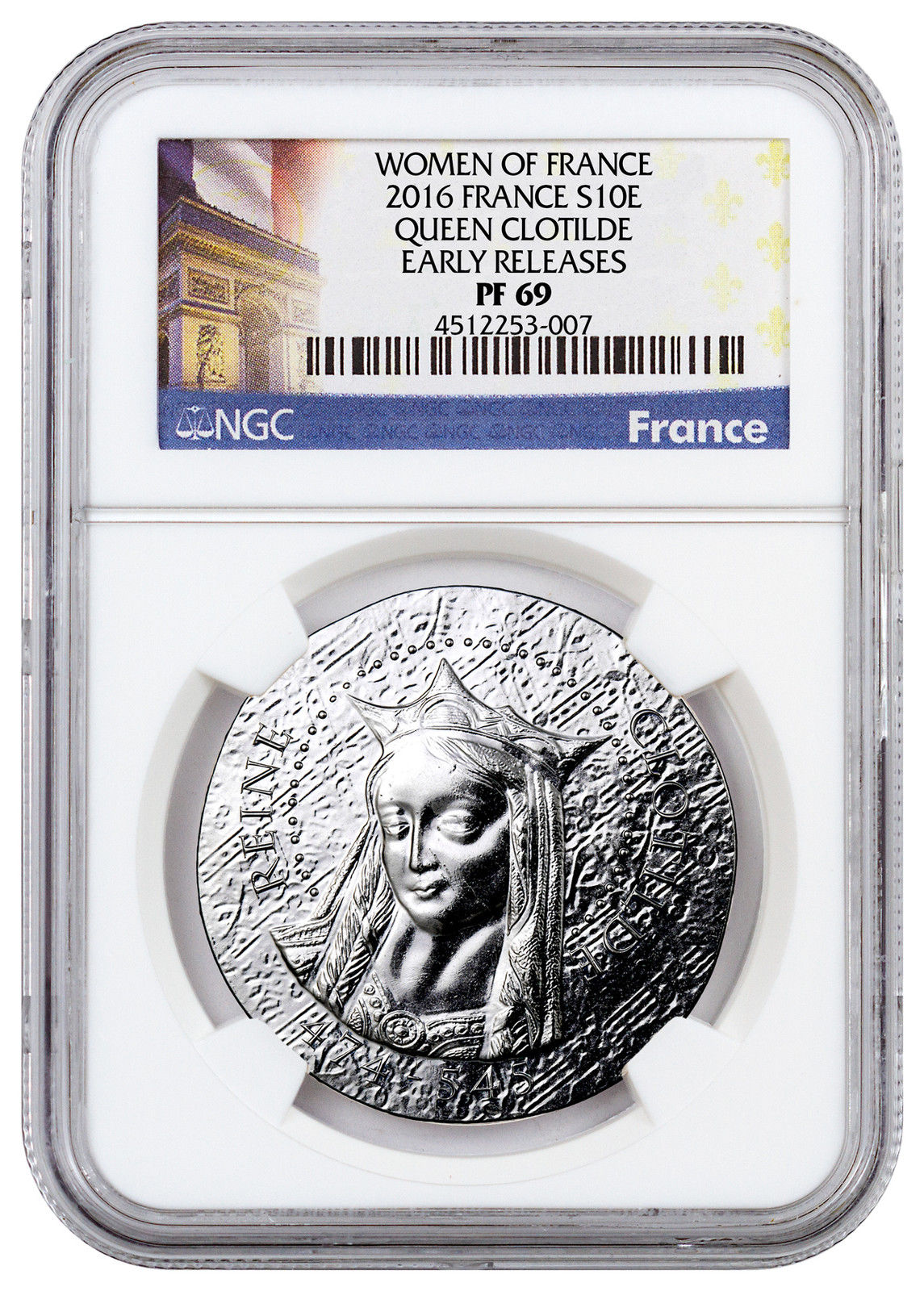 Haining tide France 2016 French women Series 1 coins CLOTHILDE NGC-PF69